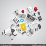 Megaphone data style. set 9 Royalty Free Stock Photography