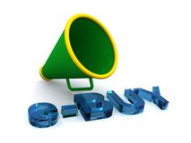 Megaphone and e-buy. Illustrated green and yellow megaphone and text e-BUY Royalty Free Stock Photo