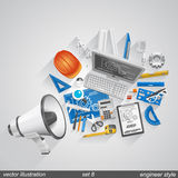 Megaphone engineer style set 8. Megaphone engineer style flat art. Vector illustration Stock Image