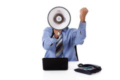 Megaphone face, young African American businessman Royalty Free Stock Photos