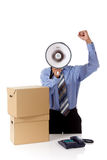 Megaphone face, young African American businessman Royalty Free Stock Image