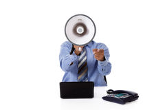 Megaphone face, young African American businessman Stock Image