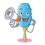 With megaphone feather duster character cartoon Royalty Free Stock Photos