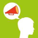 Megaphone film silhouette head think movie. Vector illustration eps 10 Royalty Free Stock Photos