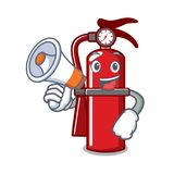 With megaphone fire extinguisher character cartoon. Vector illustration Royalty Free Stock Photography