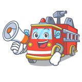With megaphone fire truck character cartoon. Vector illustration Royalty Free Stock Photography