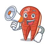 With megaphone fish slice character cartoon. Vector illustration Royalty Free Stock Image