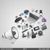Megaphone foto video style. set 6. Megaphone foto video style flat art. Vector illustration Royalty Free Stock Images
