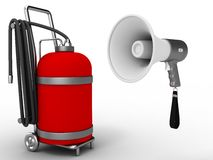 Megaphone and gas cylinder Stock Photo
