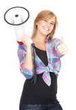 Megaphone and girl with thumb up Royalty Free Stock Photography
