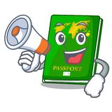 With megaphone green passport in a character bag. Vector illustration royalty free illustration