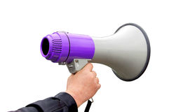 Megaphone in hand Royalty Free Stock Photography