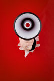 Megaphone and hand Royalty Free Stock Photos