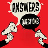 Megaphone Hand business concept Answers versus Questions. Megaphone Hand business concept with text Answers versus Questions, vector illustration Stock Photos