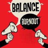 Megaphone Hand business concept Balance versus Burnout. Megaphone Hand business concept with text Balance versus Burnout, vector illustration Stock Photography
