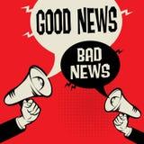 Megaphone Hand business concept Good News versus Bad News. Megaphone Hand business concept with text Good News versus Bad News, vector illustration Stock Photo