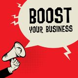 Megaphone Hand, business concept with text Boost Your Business. Vector illustration Stock Photos