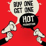 Buy One Get One Free. Megaphone Hand business concept with text Buy One Get One - Hot Promotion, vector illustration Royalty Free Stock Photo