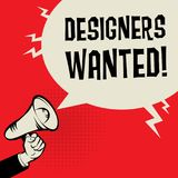 Designers Wanted business concept. Megaphone Hand business concept with text Designers Wanted, vector illustration Royalty Free Stock Photography