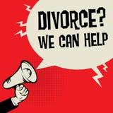 Megaphone Hand business concept Divorce? We Can Help. Megaphone Hand business concept with text Divorce? We Can Help, vector illustration Stock Photography