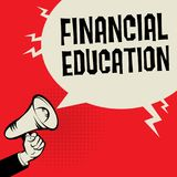 Financial Education business concept. Megaphone Hand business concept with text Financial Education, vector illustration Royalty Free Stock Photo