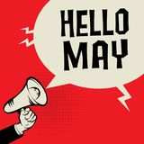 Megaphone Hand, business concept with text Hello April. Vector illustration Royalty Free Stock Photography