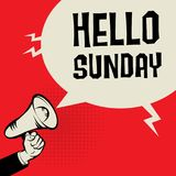 Megaphone Hand, business concept with text Hello Sunday. Vector illustration Royalty Free Stock Photos