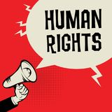 Megaphone Hand, business concept with text Human Rights. Vector illustration Stock Photos