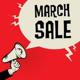 Megaphone Hand, business concept with text March Sale. Vector illustration stock illustration