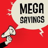Megaphone Hand, business concept with text Mega Savings Stock Image