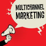 Multichannel Marketing business concept. Megaphone Hand business concept with text Multichannel Marketing, vector illustration Royalty Free Stock Photos