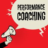Performance Coaching business concept. Megaphone Hand business concept with text Performance Coaching, vector illustration Royalty Free Stock Images
