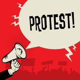 Megaphone Hand, business concept with text Protest. Vector illustration royalty free illustration