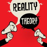 Reality versus Theory. Megaphone Hand business concept with text Reality versus Theory, vector illustration Royalty Free Stock Images