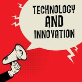 Technology and Innovation business concept. Megaphone Hand business concept with text Technology and Innovation, vector illustration Stock Photography