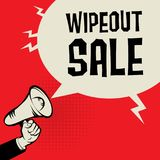 Megaphone Hand, business concept with text Wipeout Sale Stock Photo