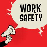 Megaphone Hand, business concept with text Work Safety. Vector illustration Stock Image