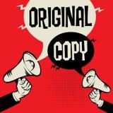 Megaphone Hand business text Original versus Copy. Megaphone Hand business concept with text Original versus Copy, vector illustration Stock Images