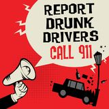 Megaphone Hand concept with car crash. And text Report Drunk Drivers, Call 911, vector illustration Royalty Free Stock Image