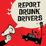 Megaphone Hand concept with car crash. And text Report Drunk Drivers, vector illustration Royalty Free Stock Photo
