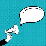 Empty place. Megaphone in hand a message blue color Vector EPS 10 stock illustration