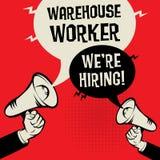 Warehouse Worker - Were Hiring. Megaphone Hands business concept with text Warehouse Worker - Were Hiring, vector illustration Royalty Free Stock Photos