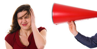 Megaphone Harrassement. Business man with megaphone harassing colleague Royalty Free Stock Images