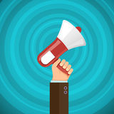 Megaphone in human hand with sound waves. Marketing and promotio stock illustration
