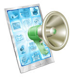 Megaphone icon phone concept Stock Images