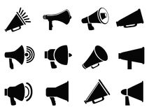 Megaphone icons. Isolated black megaphone icons from white background Stock Image