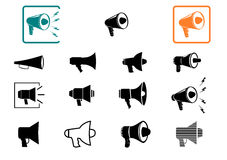 Megaphone icons set. Stock Images