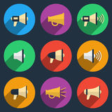 Megaphone icons set Stock Image