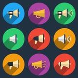 Megaphone icons set Stock Image