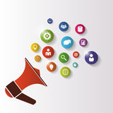 Megaphone. Illustration of business icons. Vector Royalty Free Stock Photography